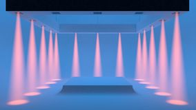Empty blue studio with spotlights on the edges and soft smooth light in the center. 3d rendering. stock illustration