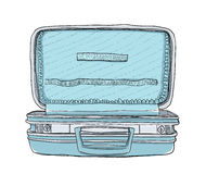 Empty blue suitcase vintage art  cute Royalty Free Stock Photography