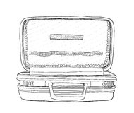 Empty blue suitcase vintage line art  cute Royalty Free Stock Image