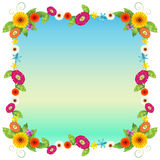 An empty blue template with colourful flowers Royalty Free Stock Photo