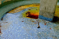 Empty Blue Tiled Fountain Royalty Free Stock Image