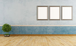 Empty blue vintage room Royalty Free Stock Photos