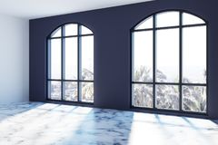 Empty blue walls room with large windows. Empty room with white and dark blue walls, arch like windows and a white marble floor floor. 3d rendering mock up Stock Image