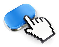 Empty blue web button and hand cursor. Blue empty metallic button and hand cursor isolated on white Stock Photo