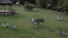 Lawn chairs at a public park royalty free stock photos