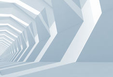 Empty blue white tunnel interior perspective, 3d. Illustration Royalty Free Stock Photography