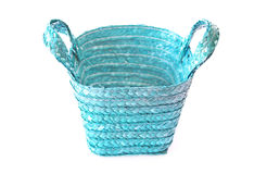 Empty blue wicker basket Royalty Free Stock Photos