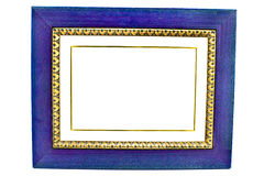 Empty Blue Wooden Picture Frame Royalty Free Stock Image