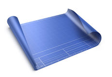 Empty blueprint. On white background - 3d render Stock Images
