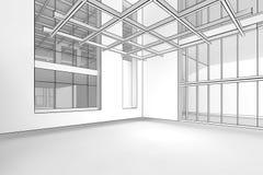 Empty Blueprint Interior. 3d illustration of a modern, empty interior in a blueprint style Royalty Free Stock Photos