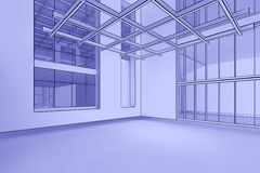 Empty Blueprint Interior. 3d illustration of a modern, empty interior in a blueprint style Stock Images