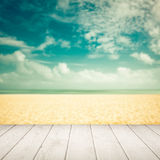 Empty blurred beach with wooden boards - vintage Stock Photography