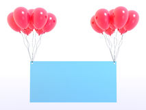 Empty board. Empty glass board and red balloons (see more in my portfolio Stock Images