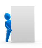 Empty board. Blue figure shows large board with empty copyspace Stock Photography