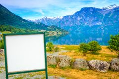Empty board in mountains nature, Norway Stock Photo