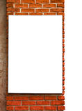 Empty board on the red brick wall. Isolated with clipping path stock photos