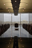 Empty Boardroom with polished reflective table Royalty Free Stock Photography