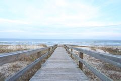 Empty boardwalk to beach Royalty Free Stock Photography