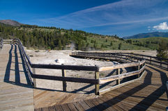Empty boardwalks at Mammoth Hot Springs Royalty Free Stock Images