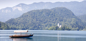 Empty boat on Bled lake Royalty Free Stock Photos