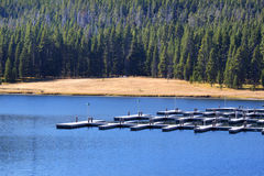 Empty boat dock. In yellowstone national park Stock Photo