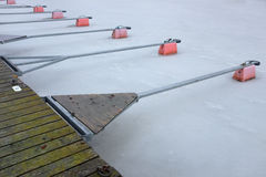 Empty boat park on the lake in winter Royalty Free Stock Photography