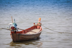 Empty boat in the sea Royalty Free Stock Photo