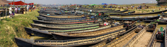 Empty boats await tourists Royalty Free Stock Images