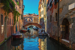 Empty boats in the canals of Venice Stock Photo