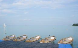 Empty boats at lake Balaton Royalty Free Stock Photos