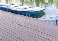 Empty boats at pier Royalty Free Stock Photos