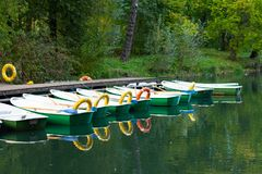 Empty boats in a row royalty free stock image