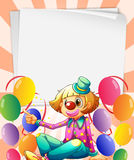 Empty bondpapers with a clown and balloons Royalty Free Stock Image