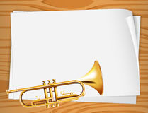 Empty bondpapers with a trombone Royalty Free Stock Images