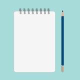 Empty book and blue pencil. Illustration image on Indigo background Royalty Free Stock Images
