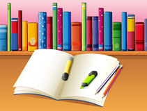 An empty book in front of the wooden shelf with books. Illustration of an empty book in front of the wooden shelf with books Stock Image