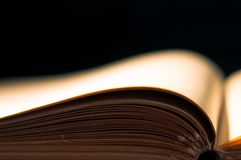 Empty book page . Empty book page isolated on black Royalty Free Stock Photography