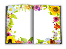 Empty book pages framed with flowers and green lea stock illustration