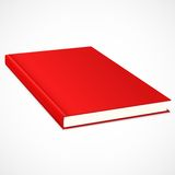 Empty book with res cover. Empty book with red cover. Vector illustration Stock Photos