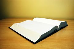 Empty book on the table. Photo of opened book on the table Stock Photo