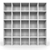 Empty bookshelf on white. Empty bookshelf on white background. 3D illustration Royalty Free Stock Photo
