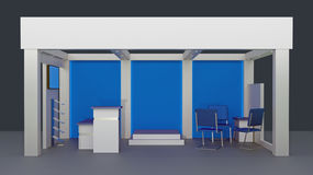 Empty booth space trade. Render commercial stands, display of products at the fair Stock Photo