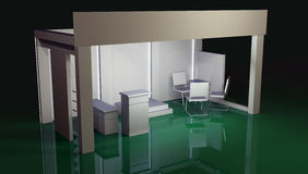 Empty booth space trade. Render commercial stands, display of products at the fair Royalty Free Stock Photos