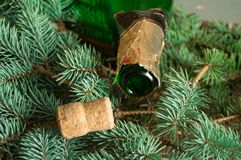 An empty bottle of champagne and a cork lying on spruce branches, focus on the neck of the bottle, Christmas background stock photo