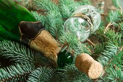 An empty bottle of champagne, a cork and a wine glass lying on spruce branches, focus on the neck of the bottle, Christmas backgro stock images