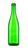 Empty bottle of champagne isolated. One empty green transparent bottle of champagne isolated on white background Royalty Free Stock Photography
