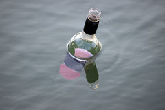 Empty Bottle Floating in the River Royalty Free Stock Image