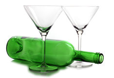 Empty bottle and glasses Royalty Free Stock Photo
