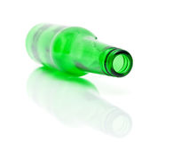 Empty bottle of green on a white background Stock Image