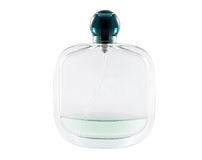 Almost empty bottle of perfume on white background Royalty Free Stock Image